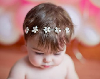 Fresh Water Pearl Baptism Headband, Flowergirl Hairpiece, Baby Headband, Baby Hairbow, Baby crown, Newborn Tiara, Baby Floral Halo