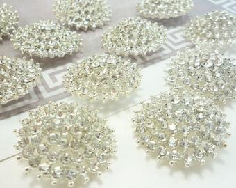 Starburst Crystal Silver Rhinestone Button, Wedding Embellishments, Buttons (25mm, 10pcs)