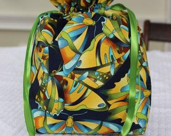 Small Knitting/Crochet Project Drawstring Bag - Blue/Green Butterflies