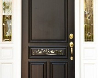 No Soliciting Door Vinyl Lettering