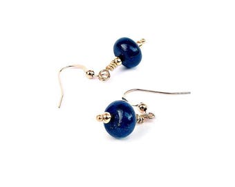 Lapis Earrings, Lapis Lazuli, Gold Gemstone Earrings, Lapis Blue Gemstone Jewellery, Dark Blue Earrings, Stone Earrings, Delicate Earrings