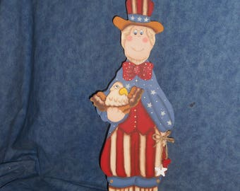 Uncle Sam Wood Figurine