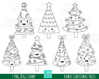 50% SALE CHRISTMAS stamp, commercial use, kawaii stamp, digi stamp, christmas tree digi stamp, digital image, coloring page, christmas trees