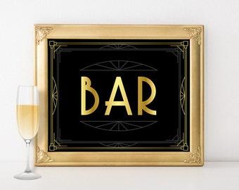 Printable Bar Sign, Wedding Decor, Birthday Party Printables, Bar Decor, Art Deco Wedding, Speakeasy Decor, Anniversary Party, Bachelorette