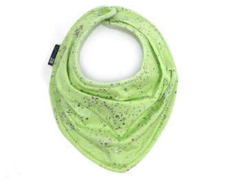 Apple Green and silver speckles  Scarf bib - Scarf styled drool bib - baby girl bib