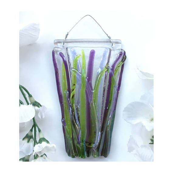 Mini Grass Wall Art, Fused Glass, Wall Vase, Glass Pocket
