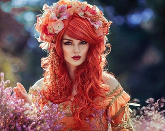 Ready to Ship beautiful romantic Flower Headpiece Lillies Flowers Karneval Cosplay Burlesque Headdress Halloween Fairy Spring