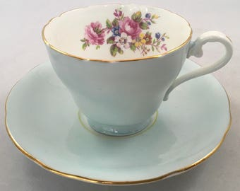 Light Blue Aynsley Teacup and Saucer, Floral Bouquet, Pale Blue Aynsley Teacup