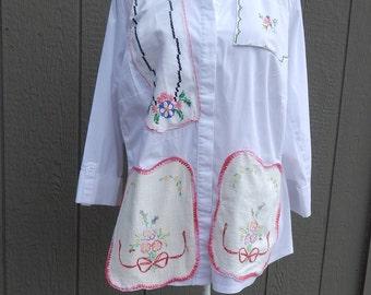 White Cotton Altered Blouse, BoHo style, shabby chic, romantic blouse,  size 2 X ,cottage chic, mori girl style, Vintage Doily Linens