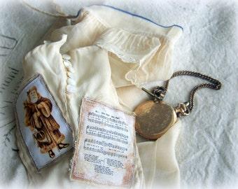Ladies nylon Christmas stocking, Sheer, Vintage nylon, old glove, sheet music, old world santa claus