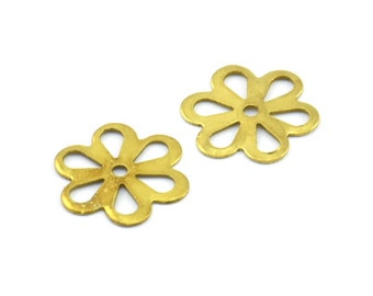 100 Raw Brass Flower, Charms, Findings (13mm) Brs 121 A0240