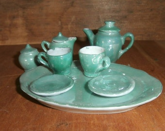 Vintage Germany miniature child's doll house green luster toy tea set pot creamer sugar cups saucers platter