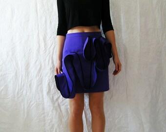 Purple Skirt,Fitted Mini Skirt, Waves Skirt