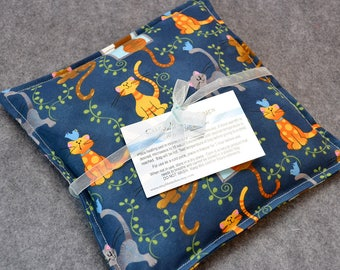 Heating Pad, Corn Bag, Microwavable Heat Pack, Hot Cold Therapy Pillow, Hand Warmer, Muscle Aches, Spa Gift -- Kitty Cat - LAST ONE