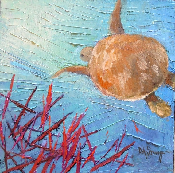 Small Seascape Oil Panting Coral Reef Sea Turtle Ocean