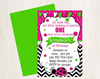 Ladybug 1st Birthday, Ladybug Invitation, Hot Pink Green Invite, Girls Birthday Party, Lovebug invitation