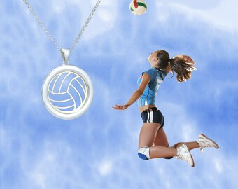 Sterling Silver Volleyball Necklace, Silver Volleyball Jewelry