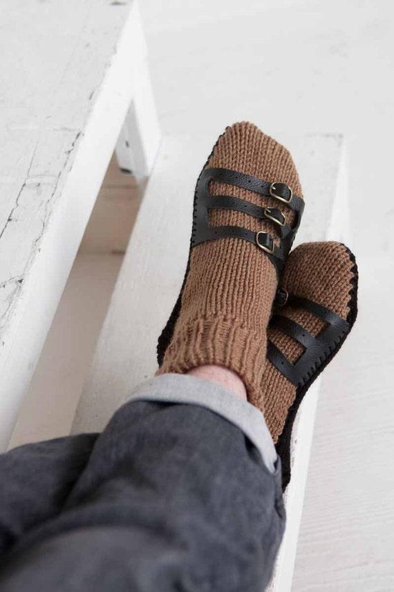 Mens Slipper Socks Mens Knit Slippers Tan Dark Brown Sandal Sock Mens House Slippers Mens Knit Socks Leather Straps zqIyKxyxiv