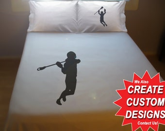 Lacrosse Duvet Cover Sheet Set Bedding Queen King Twin Size Crosse Stick Player Goalie full double cotton duvet covers sheets fan gift kids