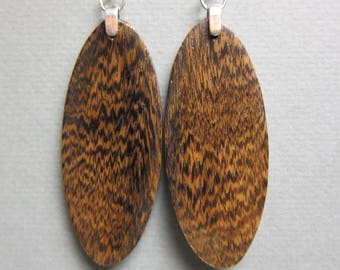Rare Pheasant Wood Exotic Wood Long Oval Earrings  by ExoticwoodJewelryAnd Reclaimed repurposed