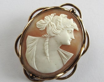 Antique Victorian Carved Shell Gold Filled Cameo Brooch