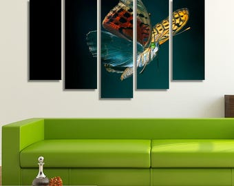 LARGE XL Colorful Butterfly Canvas Print Closeup Color Mix Canvas Nature Green Background Canvas Wall Art Print Home Decoration - Stretched