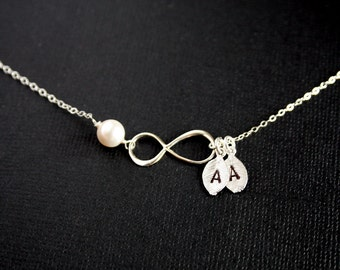 Customized Infinity necklace with Two initial leaves and Pearl - STERLING SILVER, eternity jewelry, figure 8 necklace, wedding gift for her