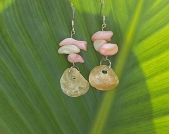Silver Fishhook Earwires with Beached Shell with Pink/White Shell Beads