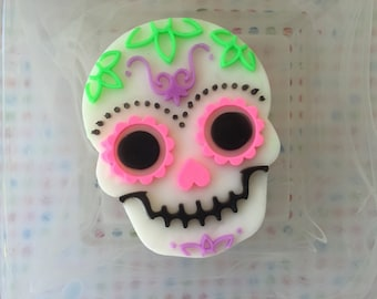 Sugar Skull Soap - Skull Soap -  Halloween Soap - Halloween Favors - Halloween Gift - Day of the Dead - Black Raspberry Vanilla