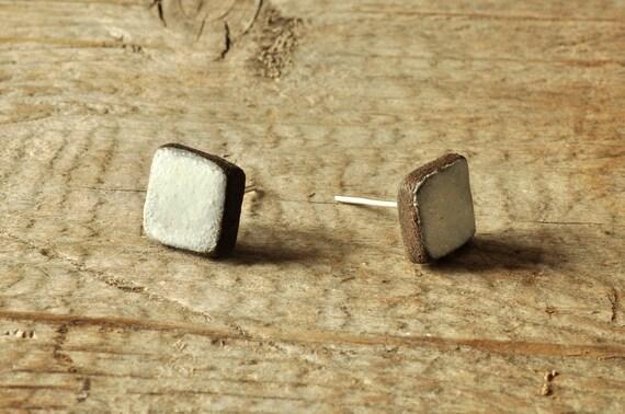 MINI matte white square stoneware stud earrings