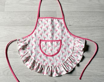 "Child apron with ruffle ""Flamingos"" 3-4 years"