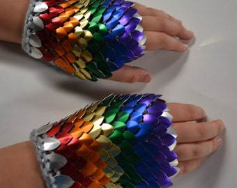Fingerless Gloves in knitted Dragonhide Scalemail Armor Rainbow Size choose your size