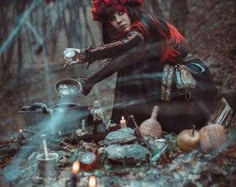 Witch dress, black fantasy dress, larp clothing, larp dress, witch costume, medieval fantasy dress