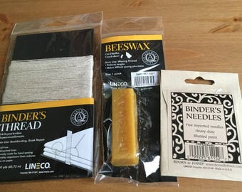Book Binding Kit - Beeswax, Linen Thread and Needles