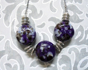 Chunky Ceramic Purple, Black and White Necklace (2421)