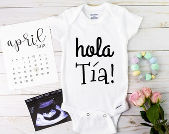 Spanish Aunt Onesie / Baby Announcement Aunt / Gift For Sister / Hello Aunt Pregnancy Announcement / announcement Facebook / gift for her