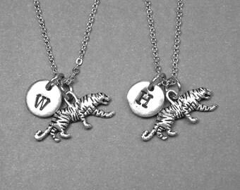 Best friend necklace, tiger necklace, tiger charm, best friend jewelry, friendship necklace, BFF necklace, personalized necklace, monogram