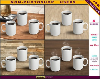 15oz White Coffee Mug | Set of 3 Mugs | Styled JPG Scenes 15-C1 | Mugs on Wood Table Floor | Non-Photoshop | Perspective view
