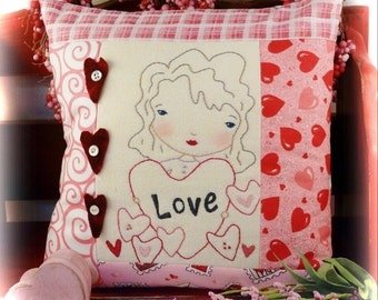 LOVE embroidery Pattern pillow PDF- stitchery girl doll fabric sew
