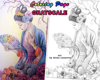 PRINTABLE Coloring Page, Grayscale. Goodess. Chang'e (Adult coloring, Coloring page)