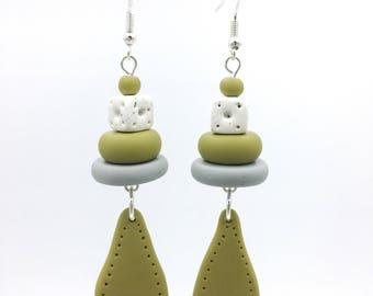 Avocado and grey earrings