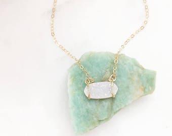 HARPER | Druzy Stone Necklace | Stone Necklace | White Druzy Stone Necklace | Claw Druzy Necklace | Tiny Gold Druzy Necklace