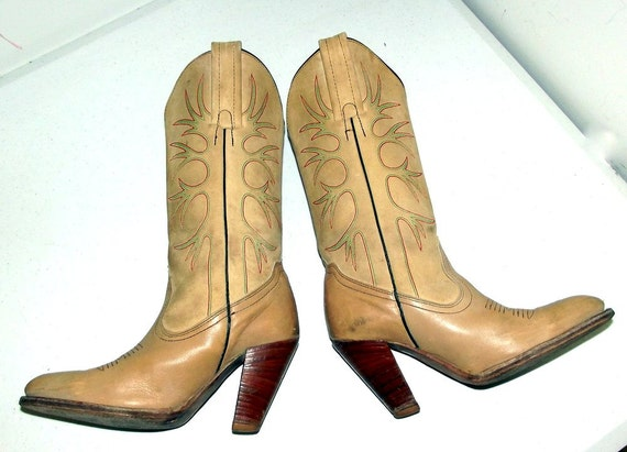 Vintage wood FRYE stacked heels western Boots Womens green red stitching fashion and rrwqF4S
