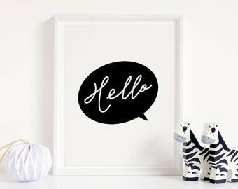 "Monochrome Nursery Art ""Hello"" Printable Decor, Black and White Nursery Art, Modern Typography Wall Decor **Instant Download PDF, JPG**"