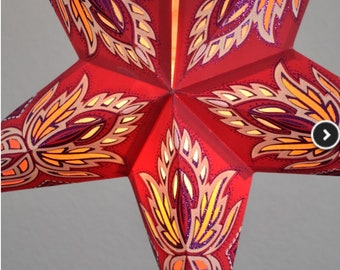 """24"""" Vanilla-Red-Cream glitter lotus star paper latern, hanging (light not included)"""
