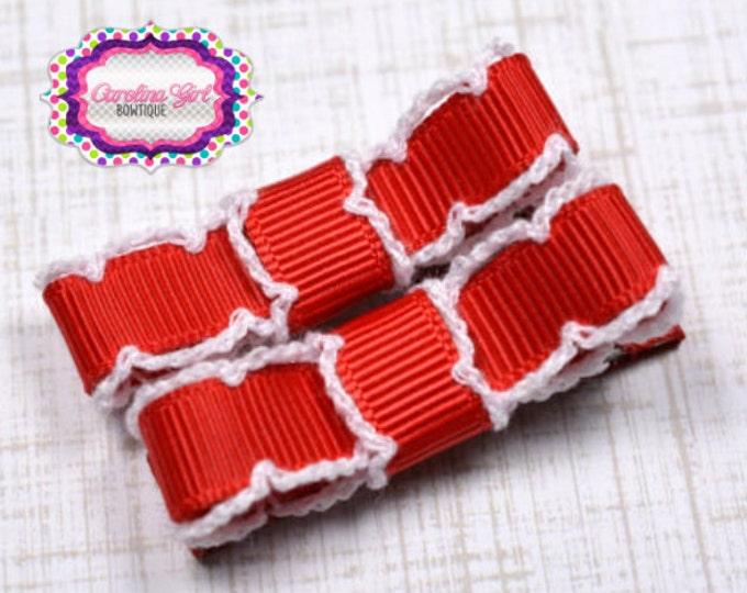 Red & White Moonstitch Hair Clips Basic Tuxedo Clips Alligator Non Slip Barrettes for Babies Toddler Girl Set of 2