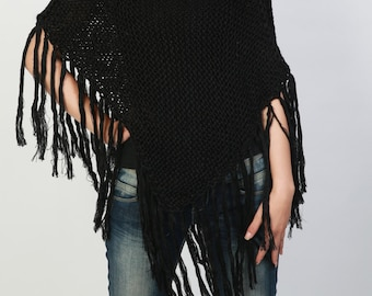 Hand knitted Little cotton poncho knit Fringe scarf knit shrug in black