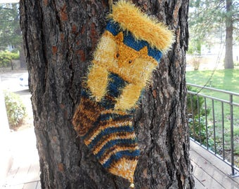 Hootie Owl hand Knit wool Christmas Stocking Woodland Stocking