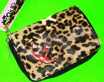 Swallow Leopard Print Retro Rockabella Refurbished Vintage One of a Kind Clutch Zippered Wristlet Wallet Purse