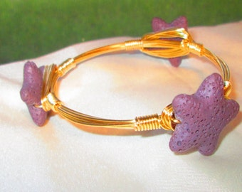 Polynesian Star, wire-wrapped bangle,
